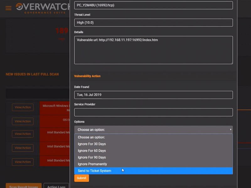 Overwatch Dashboard Actions